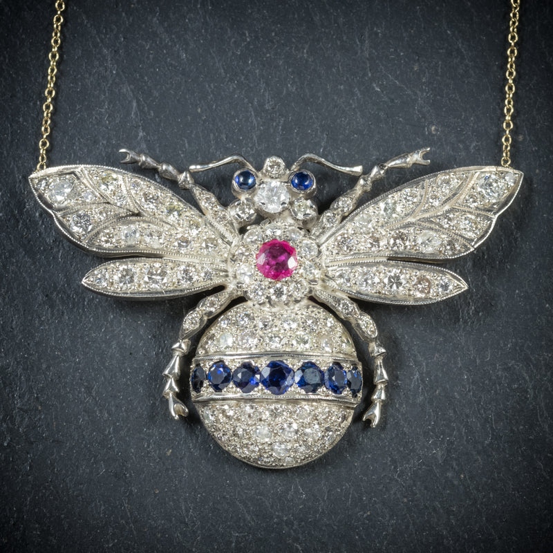 Diamond Bumble Bee Pendant Necklace Sapphire Ruby 18ct Gold bee
