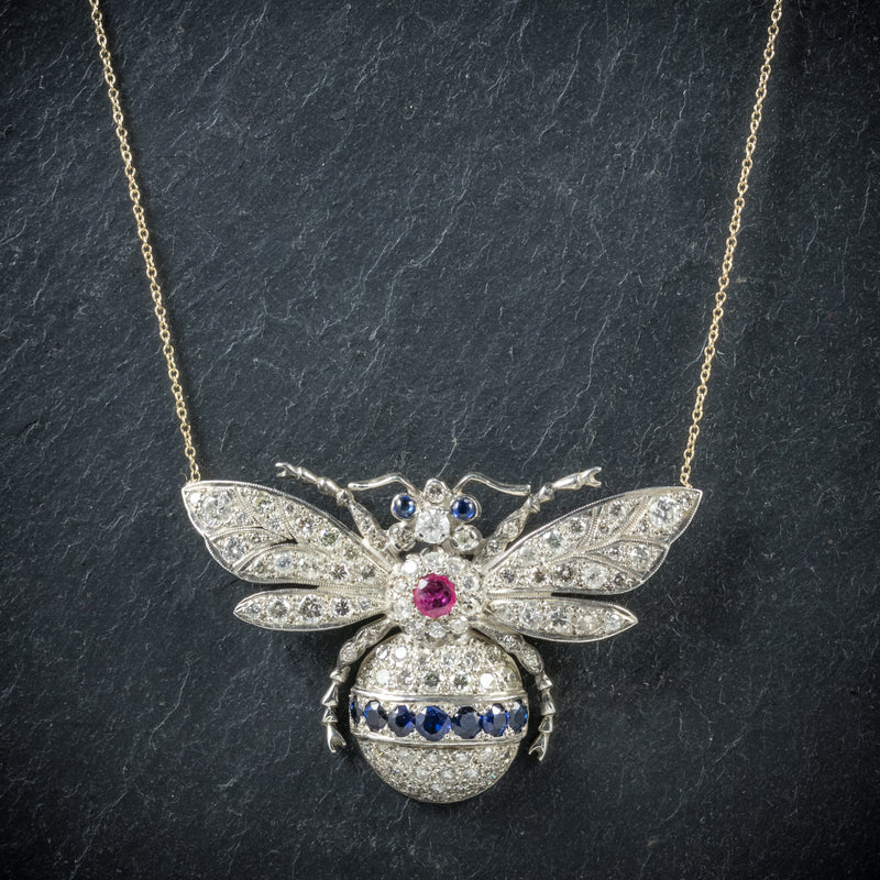 Diamond Bumble Bee Pendant Necklace Sapphire Ruby 18ct Gold front