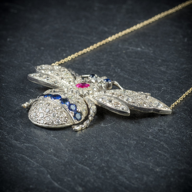 Diamond Bumble Bee Pendant Necklace Sapphire Ruby 18ct Gold side