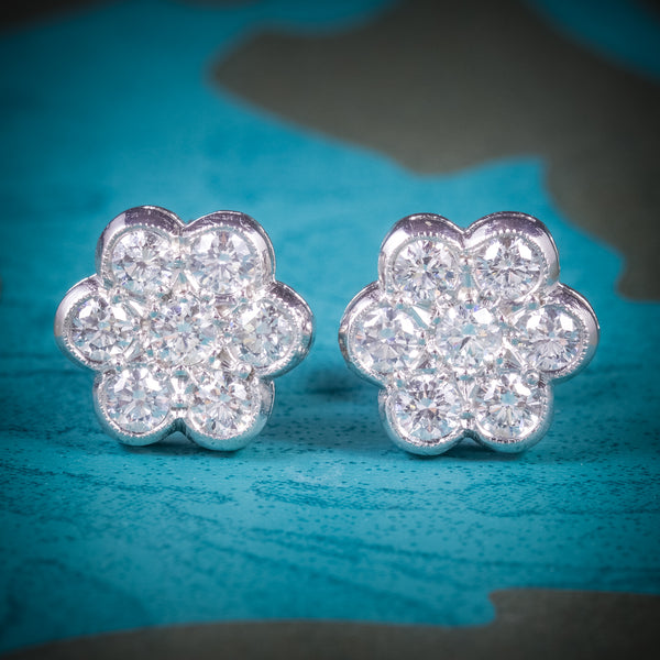 Diamond Cluster Earrings 18ct White Gold 1.40ct Diamonds COVER