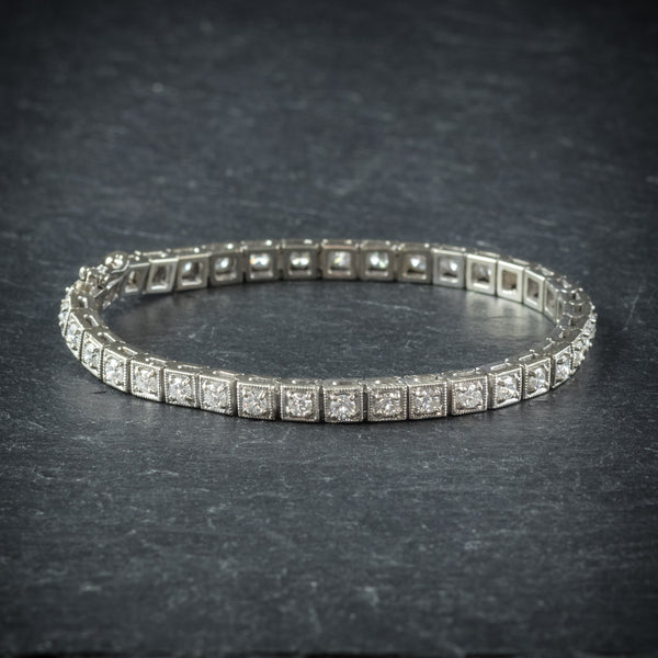 Diamond Line Bracelet 14ct White Gold side