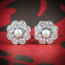 Diamond Pearl Cluster Earrings 18ct White Gold  COVER