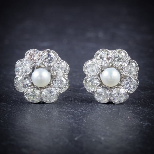 Diamond Pearl Cluster Earrings 18ct White Gold  FRONT