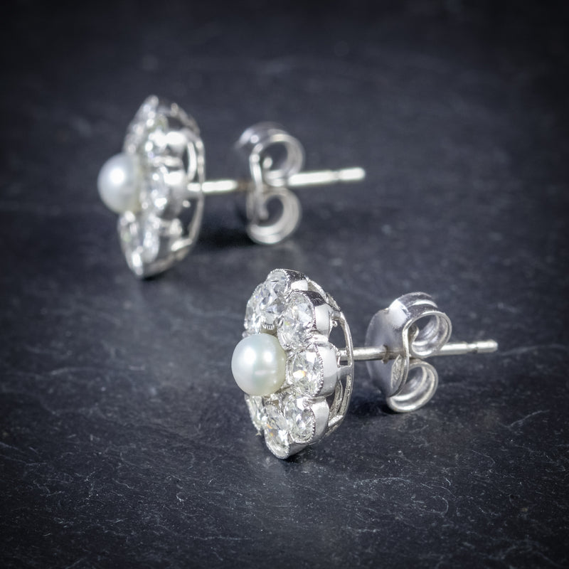 Diamond Pearl Cluster Earrings 18ct White Gold  SIDE