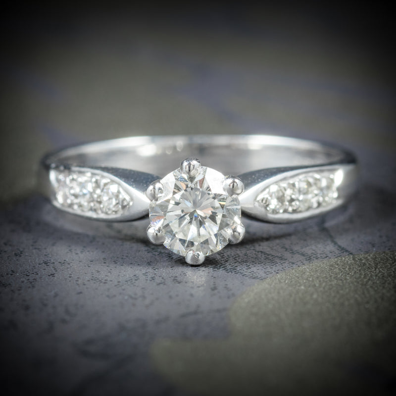 Diamond Solitaire Ring 18ct White Gold Engagement Ring Circa 1900 cover