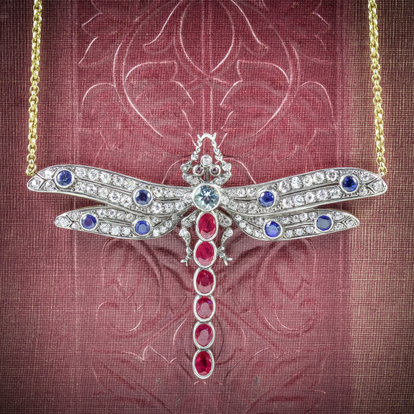 Dragonfly Pendant Necklace Ruby Diamond Sapphire Aquamarine 18ct Gold COVER