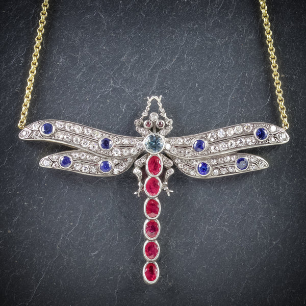 Dragonfly Pendant Necklace Ruby Diamond Sapphire Aquamarine 18ct Gold FRONT