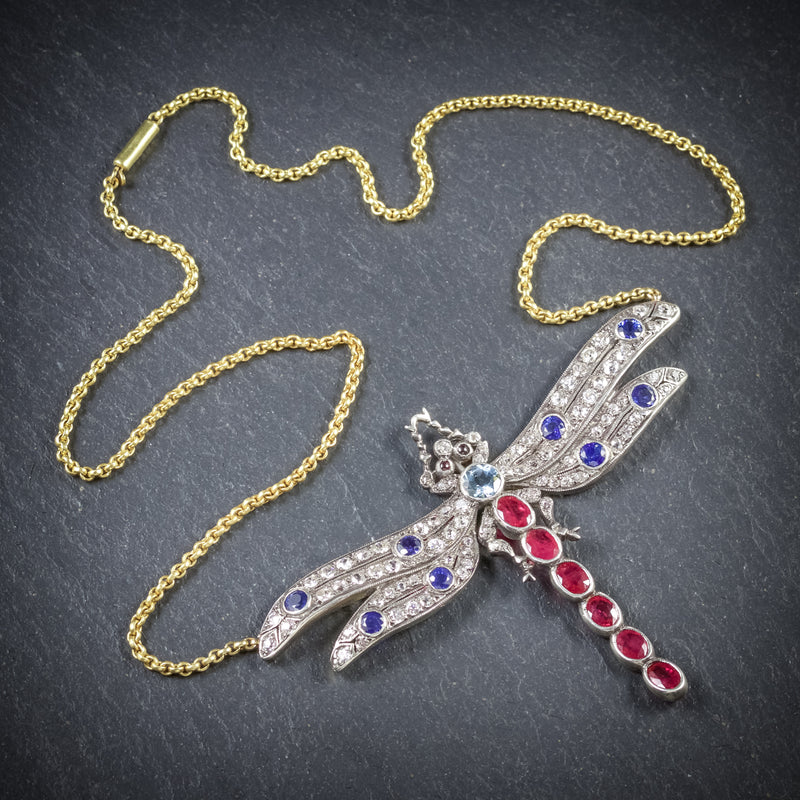 Dragonfly Pendant Necklace Ruby Diamond Sapphire Aquamarine 18ct Gold TOP