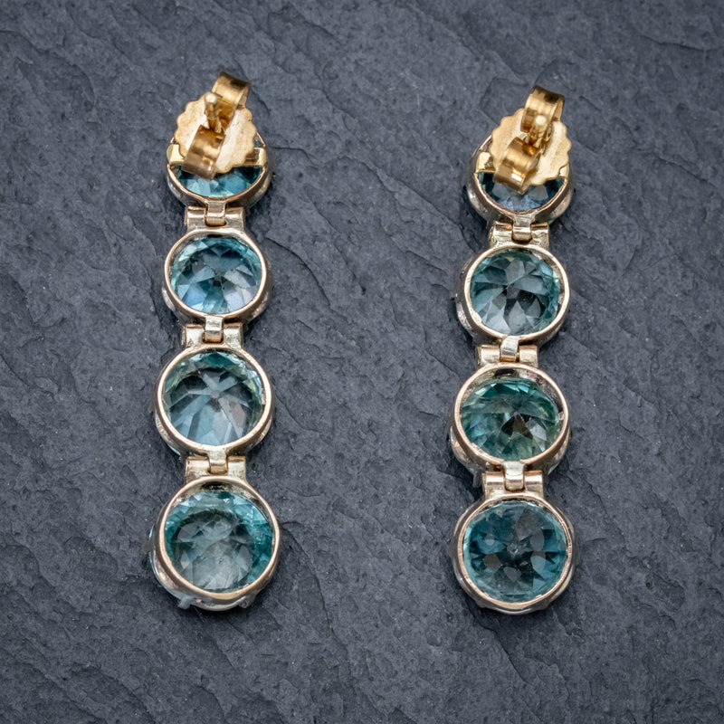 EDWARDIAN BLUE ZIRCON EARRINGS 9CT GOLD  BACK
