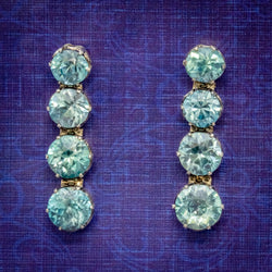 EDWARDIAN BLUE ZIRCON EARRINGS 9CT GOLD  COVER