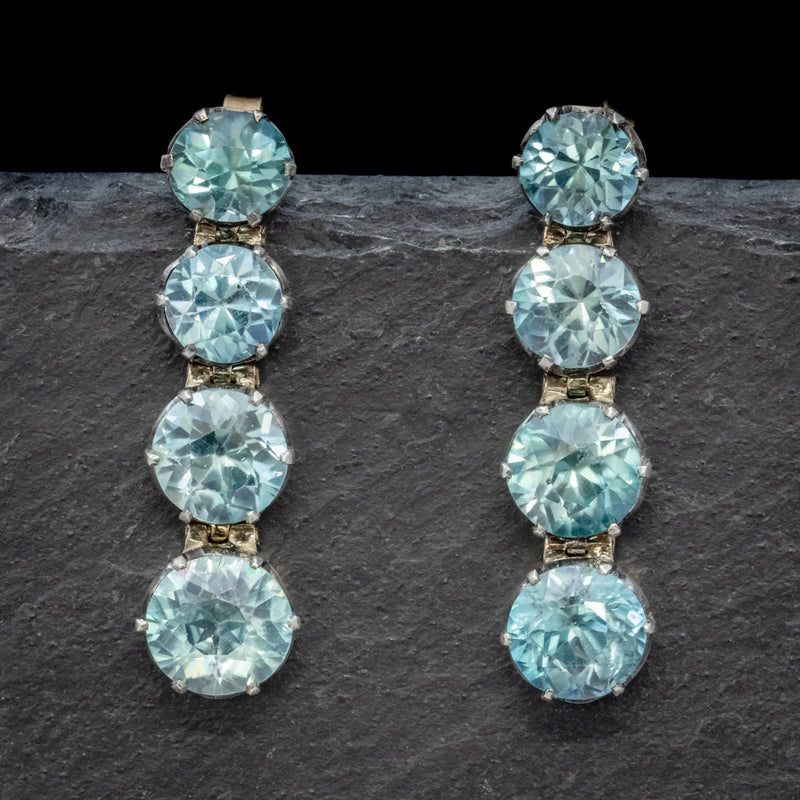 EDWARDIAN BLUE ZIRCON EARRINGS 9CT GOLD  FRONT
