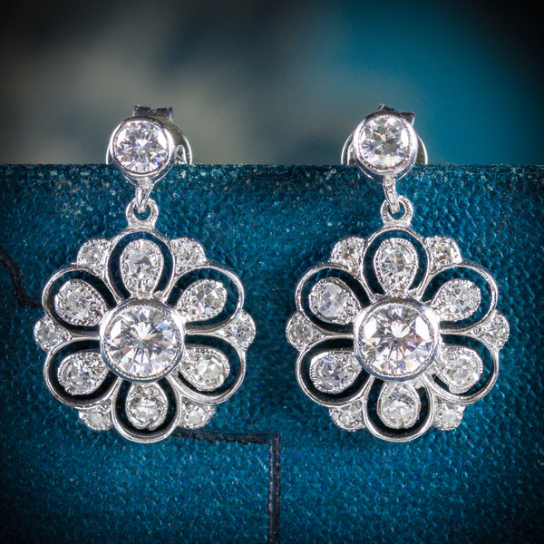 EDWARDIAN DIAMOND DROP EARRINGS 18CT WHITE GOLD COVER