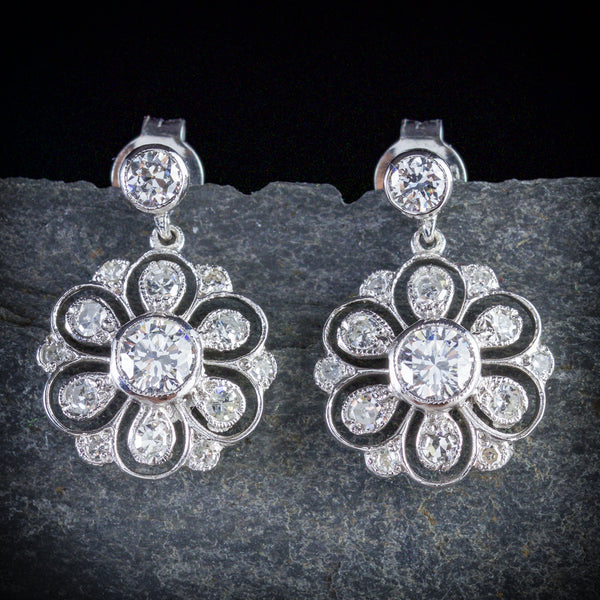 EDWARDIAN DIAMOND DROP EARRINGS 18CT WHITE GOLD FRONT