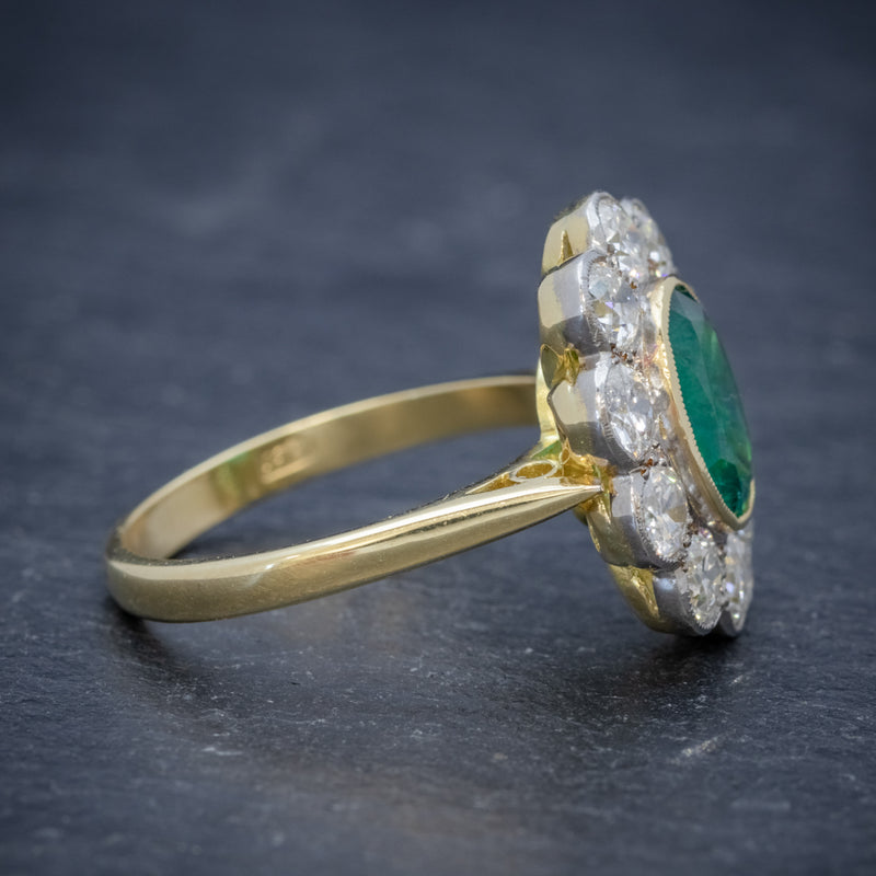 EMERALD DIAMOND CLUSTER RING 18CT GOLD 1.80CT EMERALD SIDE 2