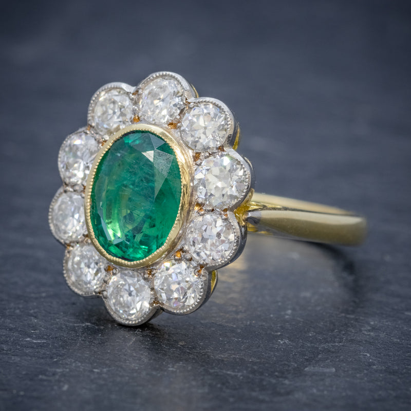 EMERALD DIAMOND CLUSTER RING 18CT GOLD 1.80CT EMERALD SIDE