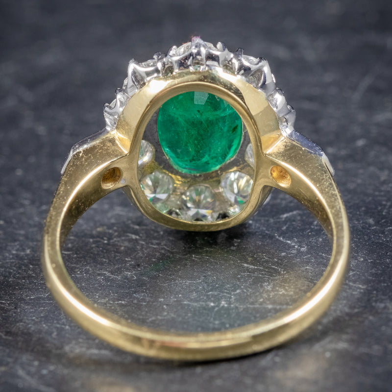 Emerald Diamond Cluster Ring 18ct Gold 2.85ct Emerald BACK