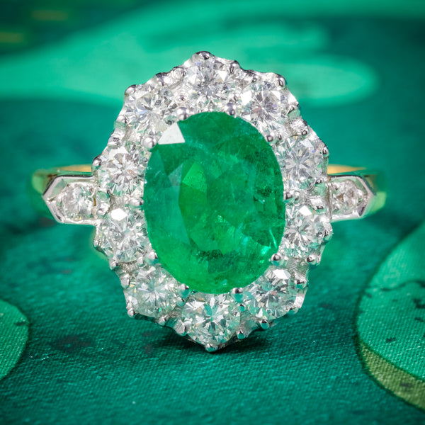 Emerald Diamond Cluster Ring 18ct Gold 2.85ct Emerald COVER