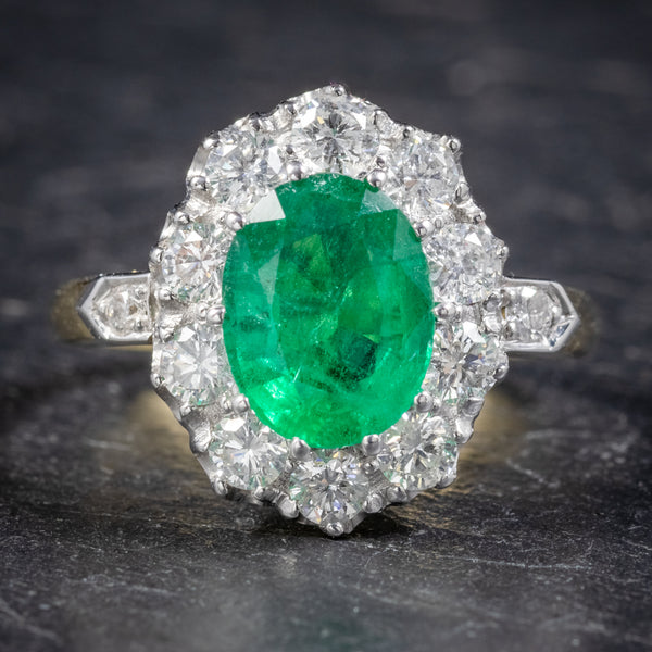 Emerald Diamond Cluster Ring 18ct Gold 2.85ct Emerald FRONT