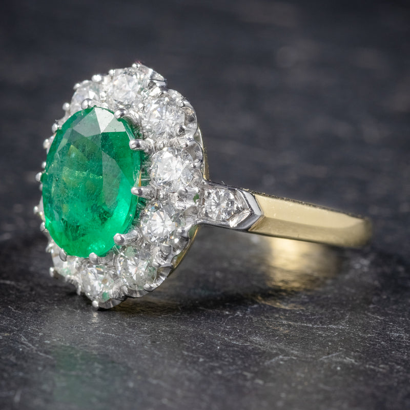 Emerald Diamond Cluster Ring 18ct Gold 2.85ct Emerald SIDE1