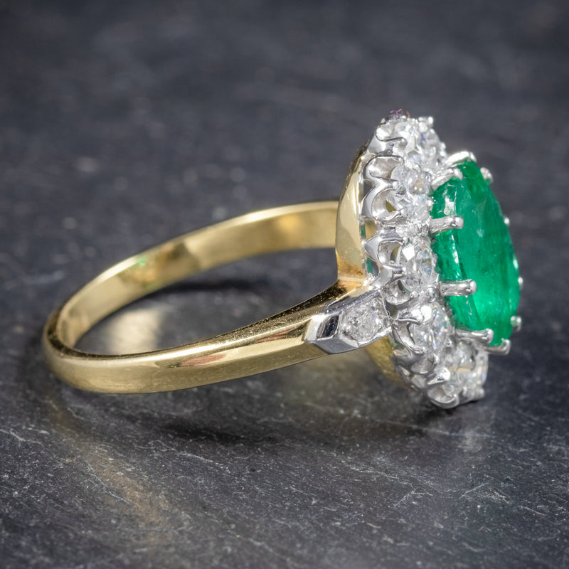 Emerald Diamond Cluster Ring 18ct Gold 2.85ct Emerald SIDE 2