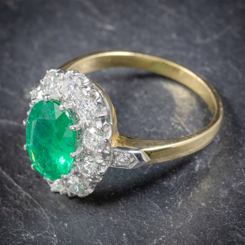Emerald Diamond Cluster Ring 18ct Gold 2.85ct Emerald TOP2