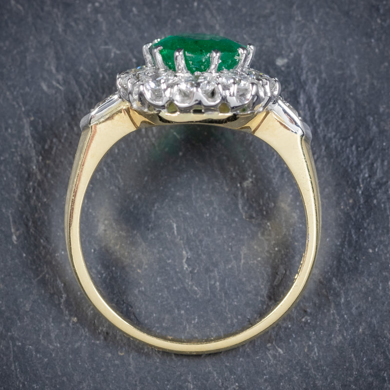 Emerald Diamond Cluster Ring 18ct Gold 2.85ct Emerald TOP