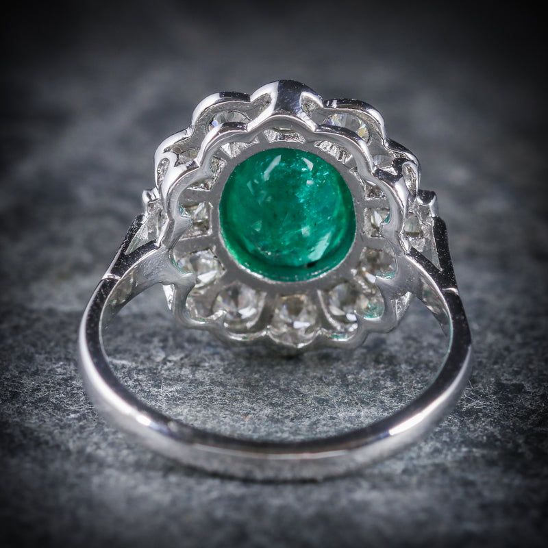 EMERALD DIAMOND CLUSTER RING 18CT WHITE GOLD 2.50CT EMERALD 1.80CT DIAMOND BACK