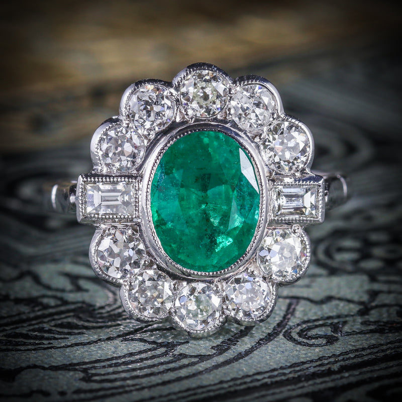 EMERALD DIAMOND CLUSTER RING 18CT WHITE GOLD 2.50CT EMERALD 1.80CT DIAMOND COVER