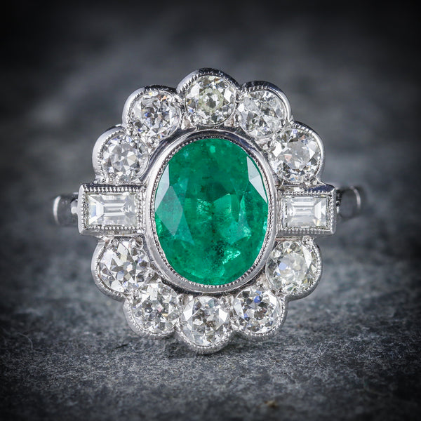 EMERALD DIAMOND CLUSTER RING 18CT WHITE GOLD 2.50CT EMERALD 1.80CT DIAMOND FRONT