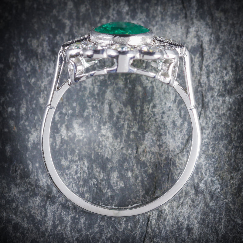 EMERALD DIAMOND CLUSTER RING 18CT WHITE GOLD 2.50CT EMERALD 1.80CT DIAMOND TOP