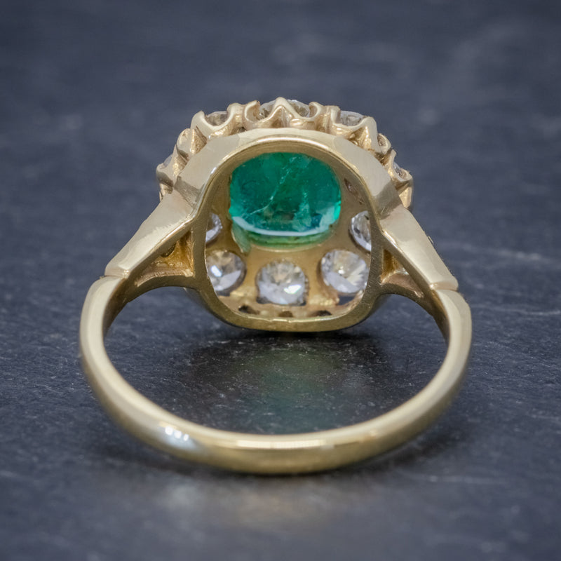 EMERALD DIAMOND CLUSTER RING 2CT EMERALD 1.50CT DIAMOND 18CT GOLD BACK