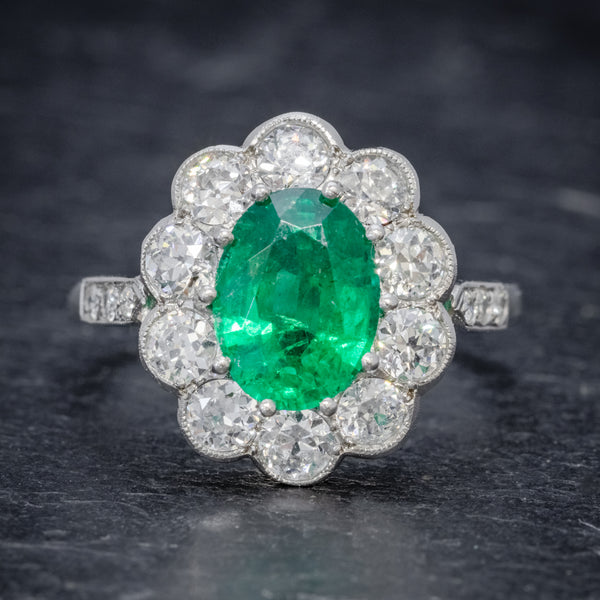 EMERALD DIAMOND CLUSTER RING PLATINUM 2.50CT EMERALD 1.20CT DIAMOND FRONT