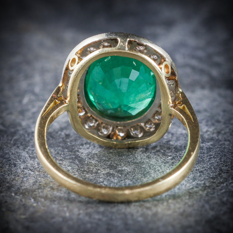 EMERALD DIAMOND ENGAGEMENT RING 18CT GOLD 7CT NATURAL EMERALD BACK