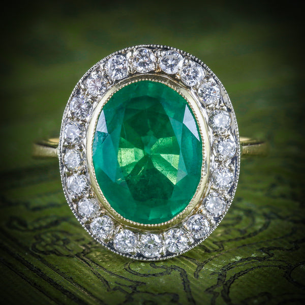 EMERALD DIAMOND ENGAGEMENT RING 18CT GOLD 7CT NATURAL EMERALD COVER