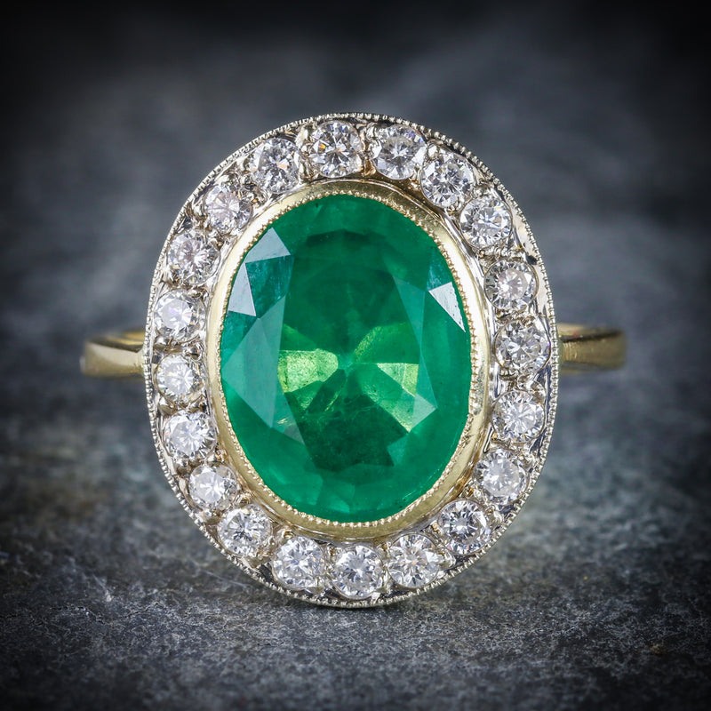 EMERALD DIAMOND ENGAGEMENT RING 18CT GOLD 7CT NATURAL EMERALD FRONT