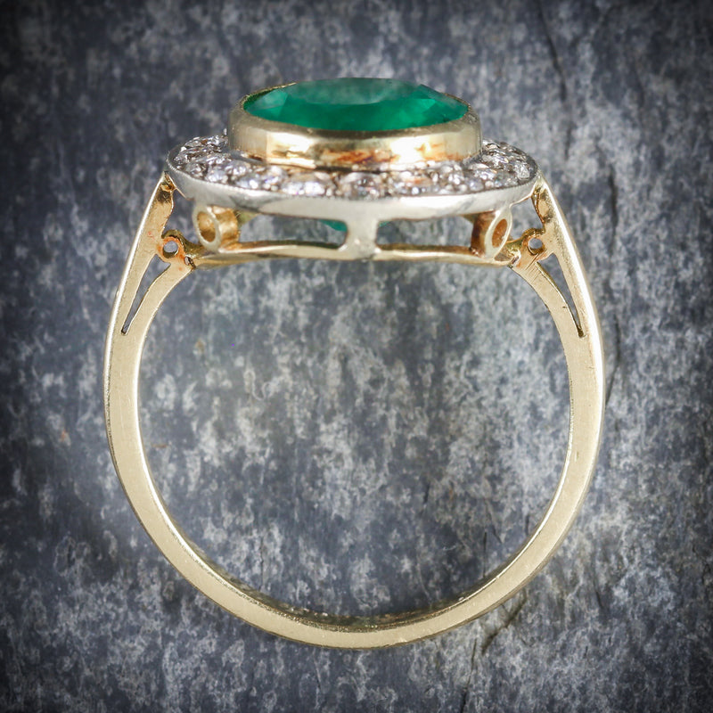 EMERALD DIAMOND ENGAGEMENT RING 18CT GOLD 7CT NATURAL EMERALD TOP