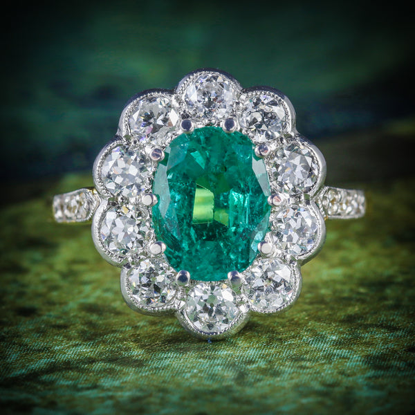 EMERALD DIAMOND ENGAGEMENT RING 3.20CT EMERALD 1.60CT DIAMOND COVER