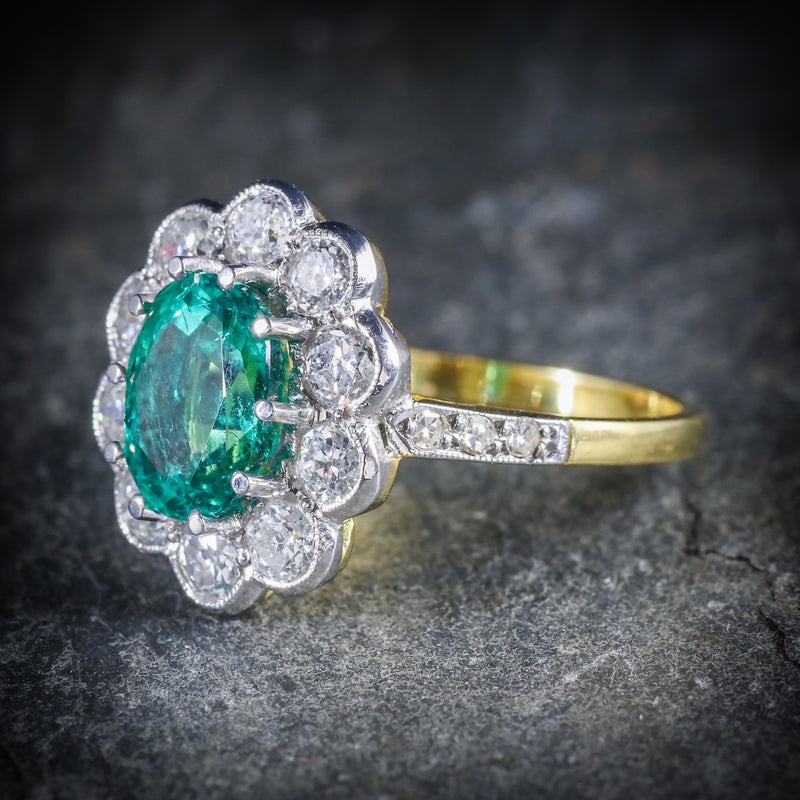 EMERALD DIAMOND ENGAGEMENT RING 3.20CT EMERALD 1.60CT DIAMOND SIDE