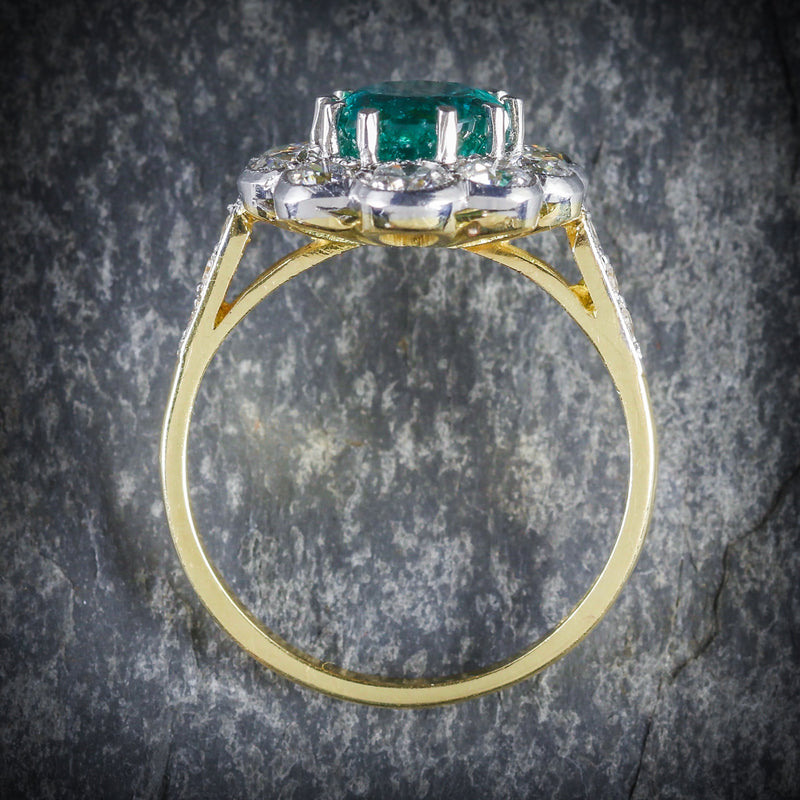 EMERALD DIAMOND ENGAGEMENT RING 3.20CT EMERALD 1.60CT DIAMOND TOP