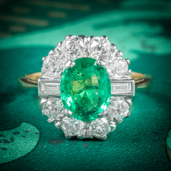 EMERALD DIAMOND RING 18CT GOLD 2CT EMERALD cover