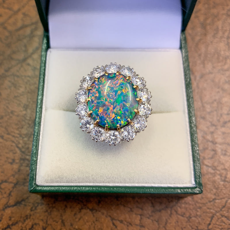 VINTAGE BLACK OPAL CLUSTER RING PLATINUM 5.75CT OPAL CIRCA 1970 box