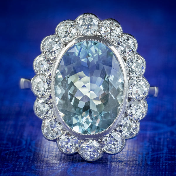 Edwardian Style Aquamarine Diamond Cluster Ring 5ct Aqua