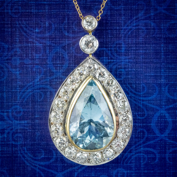 Edwardian Style Aquamarine Diamond Pendant Necklace 7ct Aqua