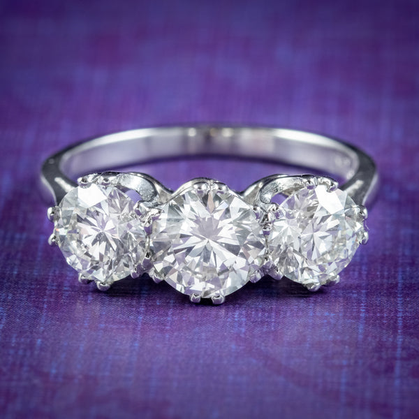 Edwardian Style Diamond Trilogy Ring 2.75ct Diamond With Cert