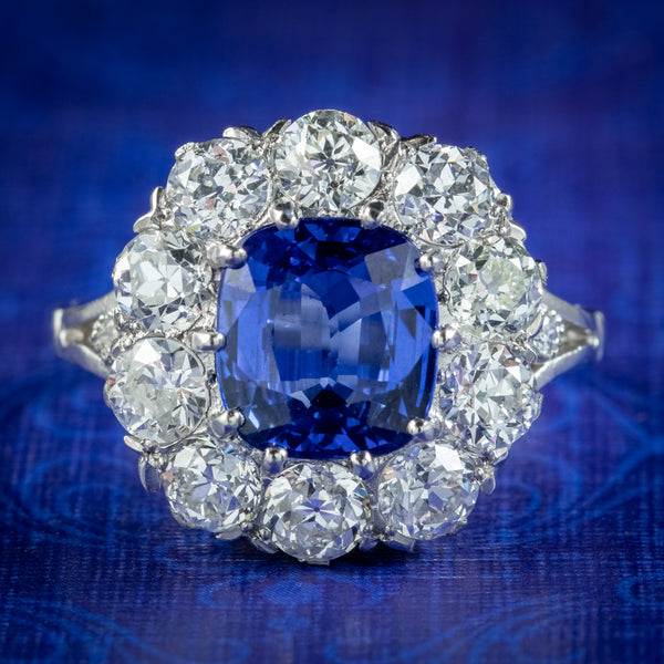 Edwardian Style Sapphire Diamond Cluster Ring 3.25ct Sapphire