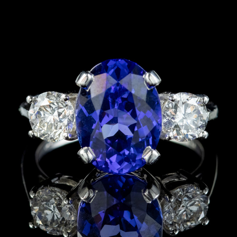 Edwardian Style Tanzanite Diamond Trilogy Ring 4.50ct Tanzanite