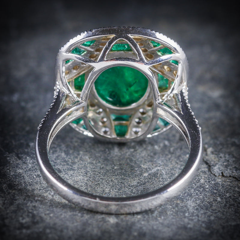Emerald Diamond Cluster Ring 18ct White Gold BACK