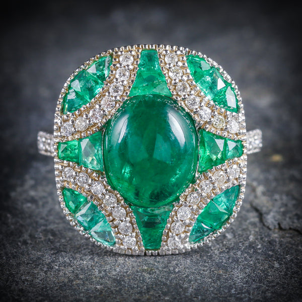 Emerald Diamond Cluster Ring 18ct White Gold FRONT