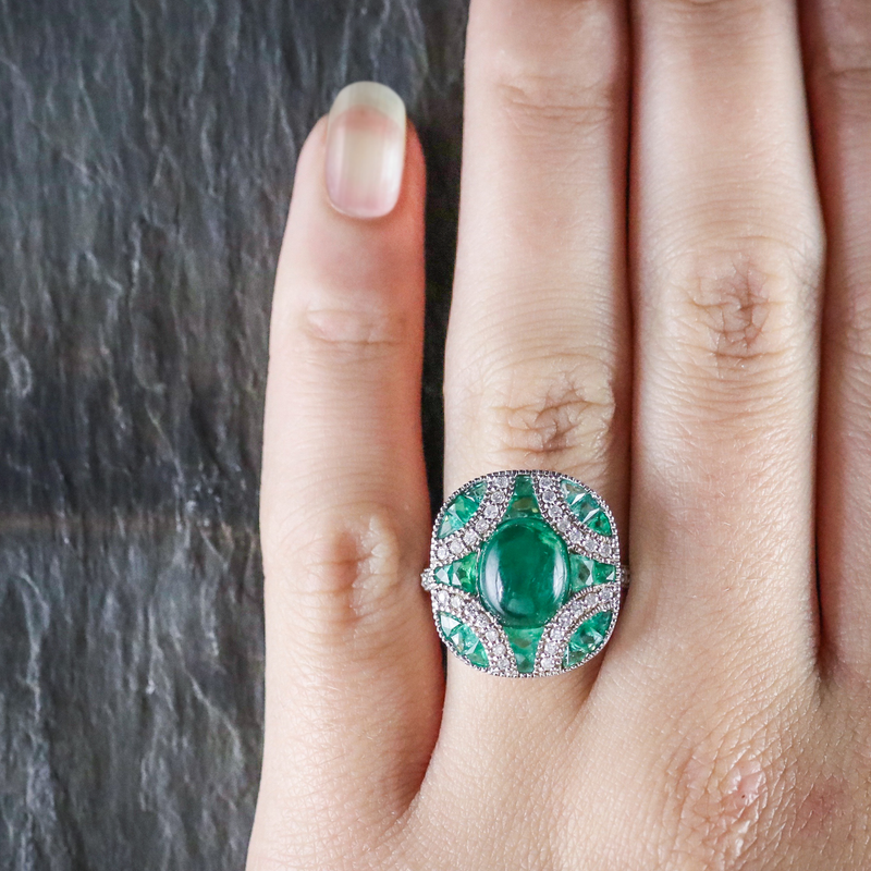 Emerald Diamond Cluster Ring 18ct White Gold HAND
