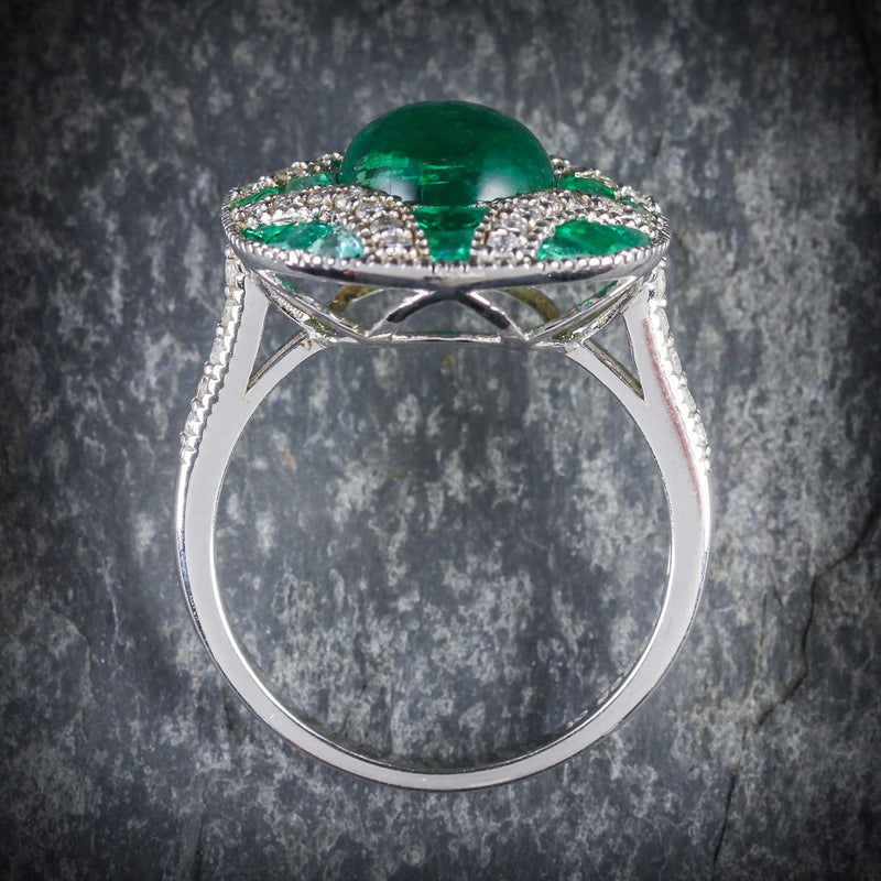 Emerald Diamond Cluster Ring 18ct White Gold TOP